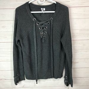 Cable & gauges | lace up knit sweater Sz L grey